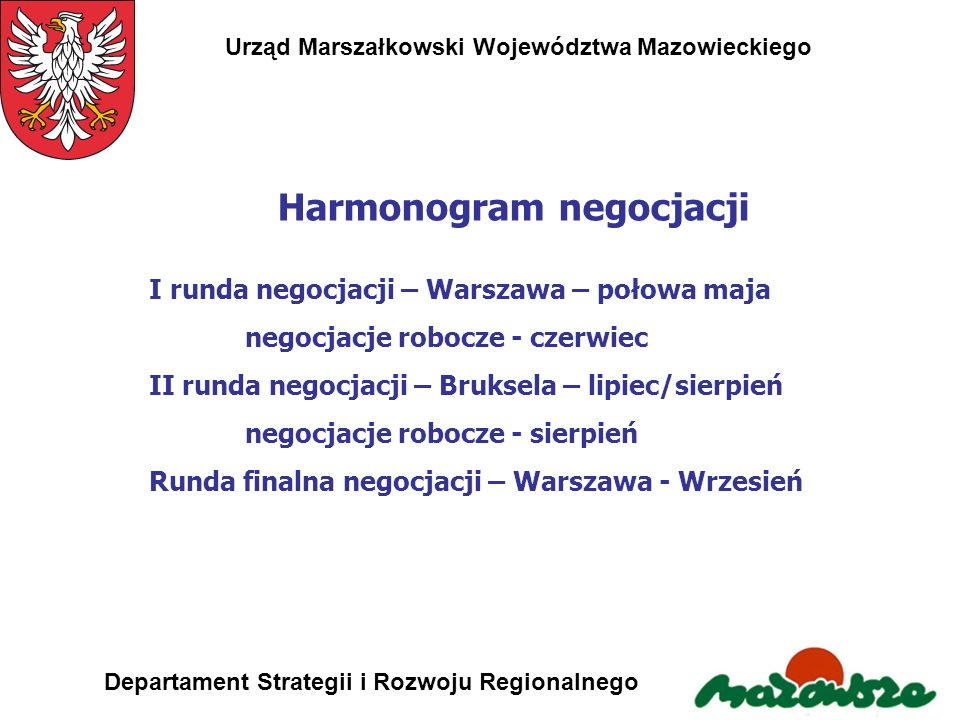 Harmonogram negocjacji