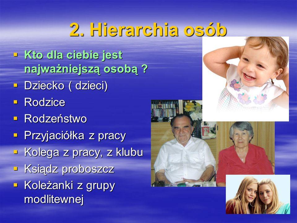 2. Hierarchia osób Kto dla ciebie jest najważniejszą osobą
