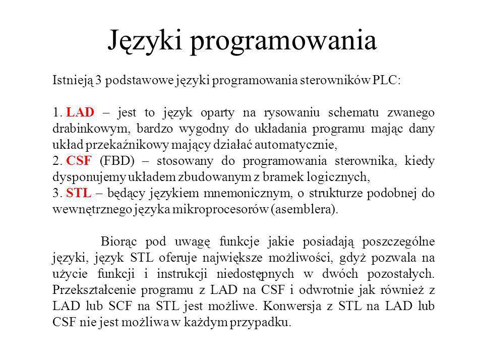 Języki programowania Istnieją 3 podstawowe języki programowania sterowników PLC: