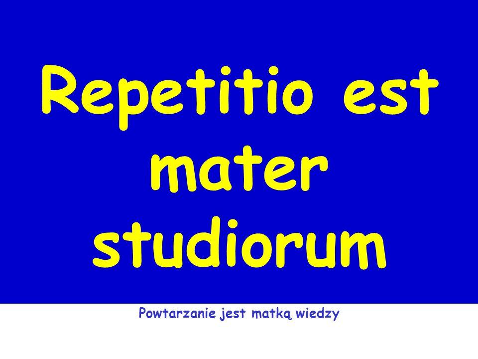 Repetitio est mater studiorum Powtarzanie jest matką wiedzy