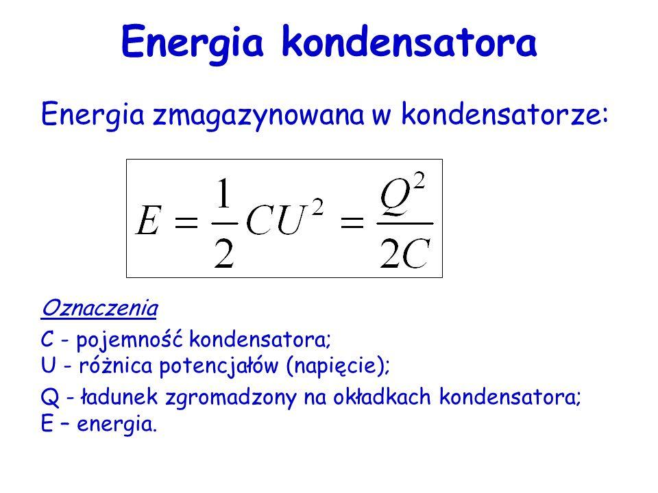 Energia kondensatora Energia zmagazynowana w kondensatorze: Oznaczenia