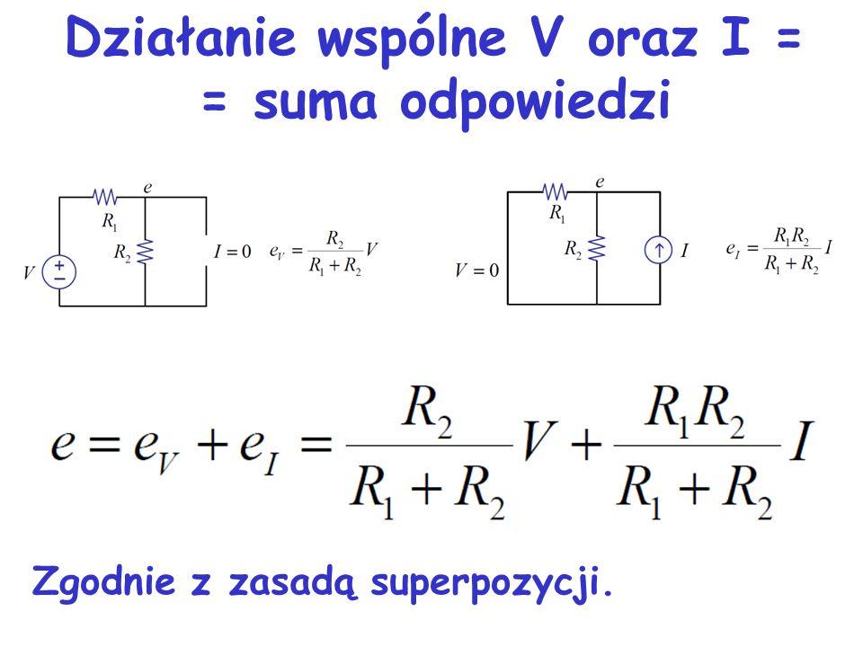 Działanie wspólne V oraz I = = suma odpowiedzi