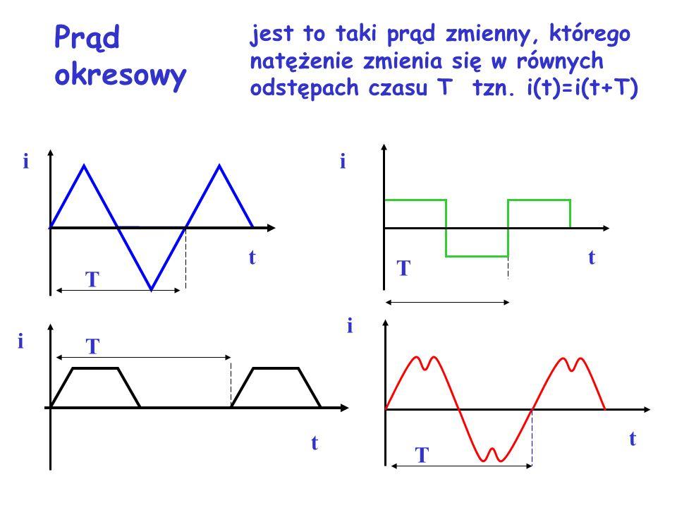Prąd okresowy jest to taki prąd zmienny, którego natężenie zmienia się w równych odstępach czasu T tzn. i(t)=i(t+T)