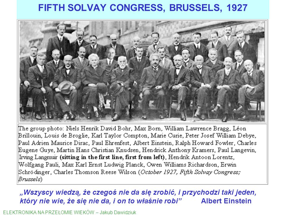 FIFTH SOLVAY CONGRESS, BRUSSELS, 1927