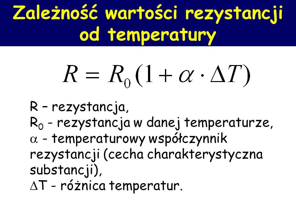 Zależność wartości rezystancji od temperatury