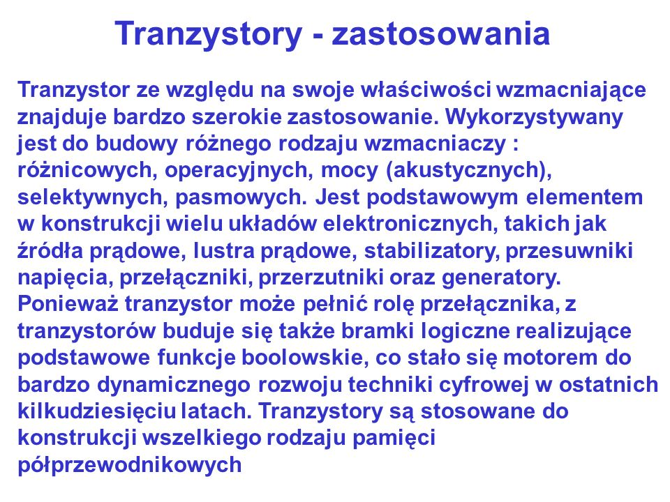 Tranzystory - zastosowania