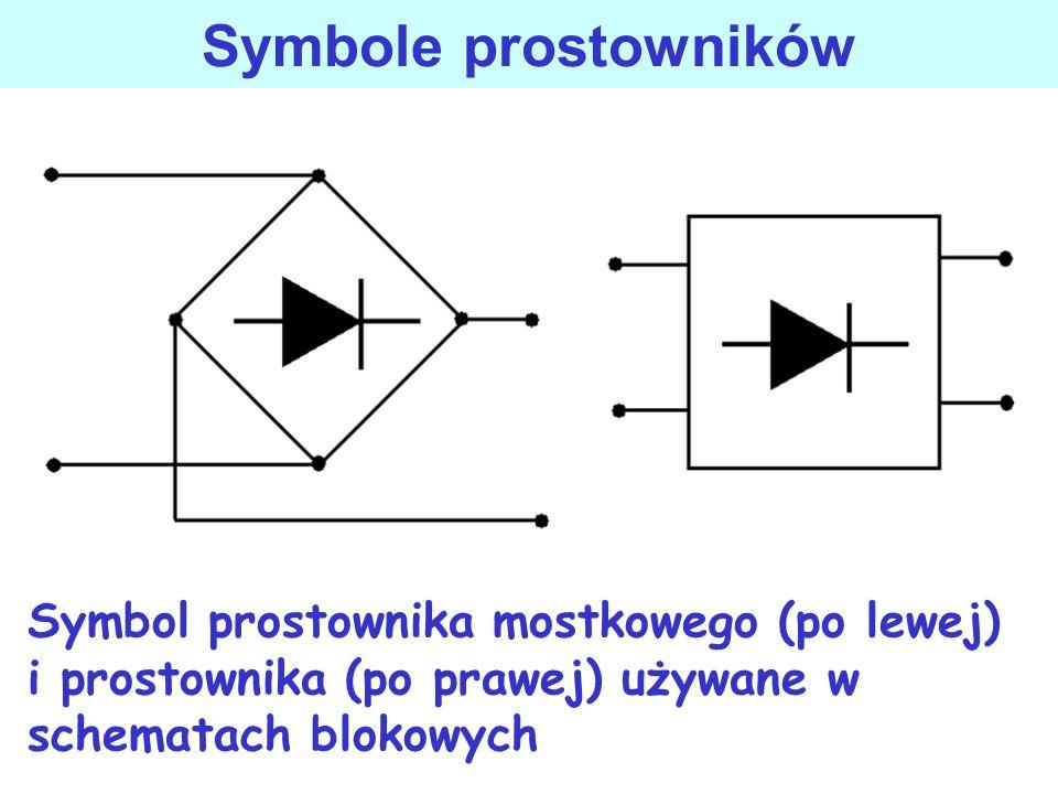 Symbole prostownikówSymbol prostownika mostkowego (po lewej) i prostownika (po prawej) używane w schematach blokowych.