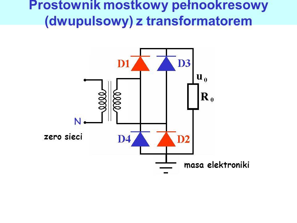 Prostownik mostkowy pełnookresowy (dwupulsowy) z transformatorem