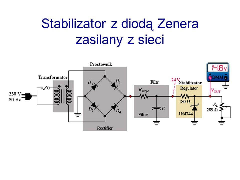 Stabilizator z diodą Zenera zasilany z sieci