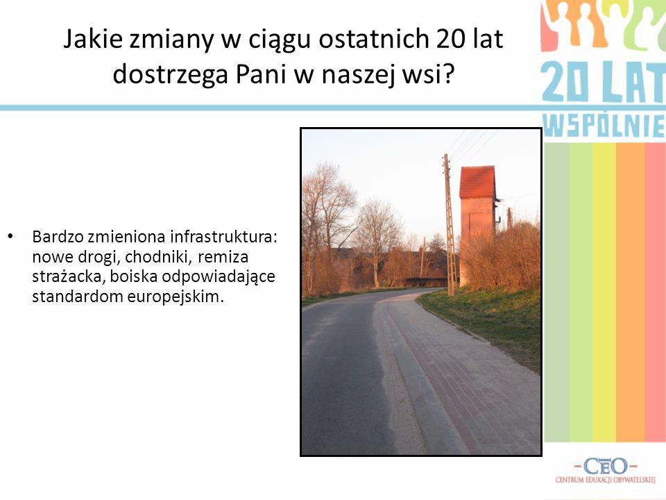 Jakie zmiany w ciągu ostatnich 20 lat dostrzega Pani w naszej wsi