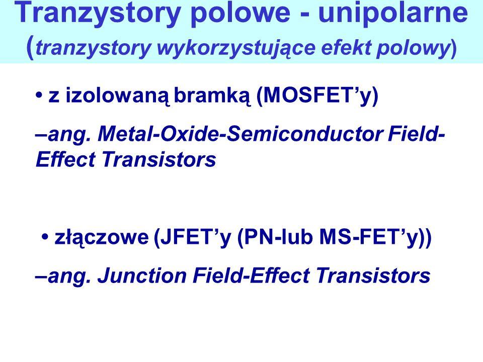 Tranzystory polowe - unipolarne (tranzystory wykorzystujące efekt polowy)