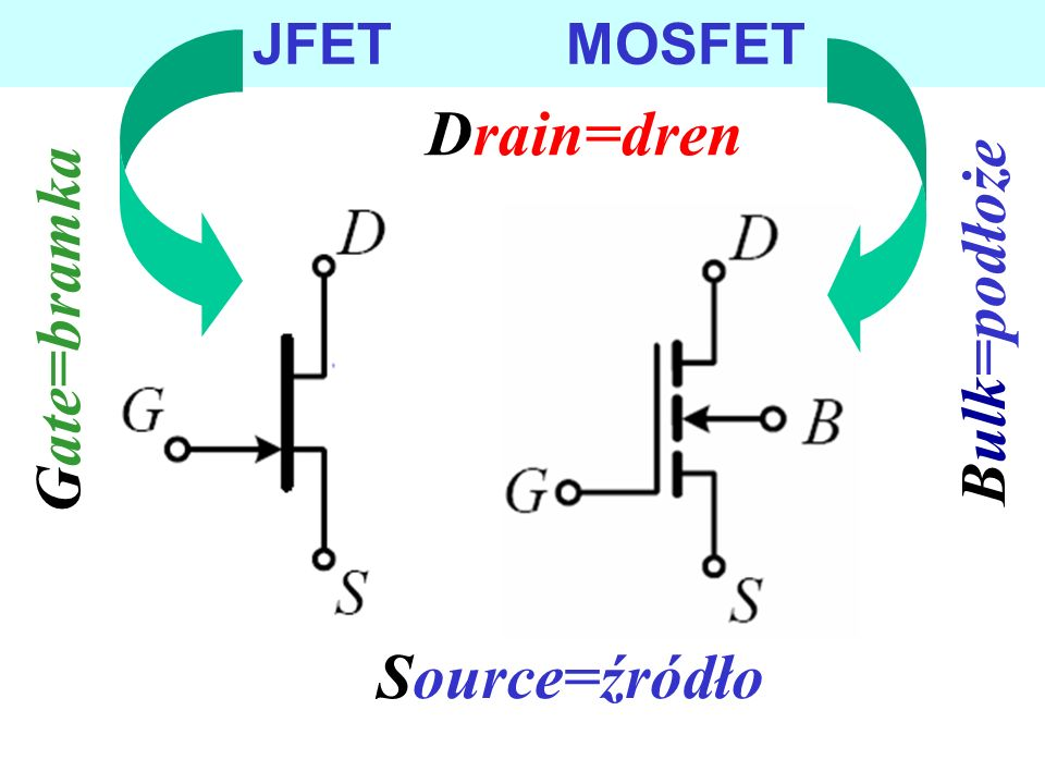 JFET MOSFET Drain=dren Bulk=podłoże Gate=bramka Source=źródło
