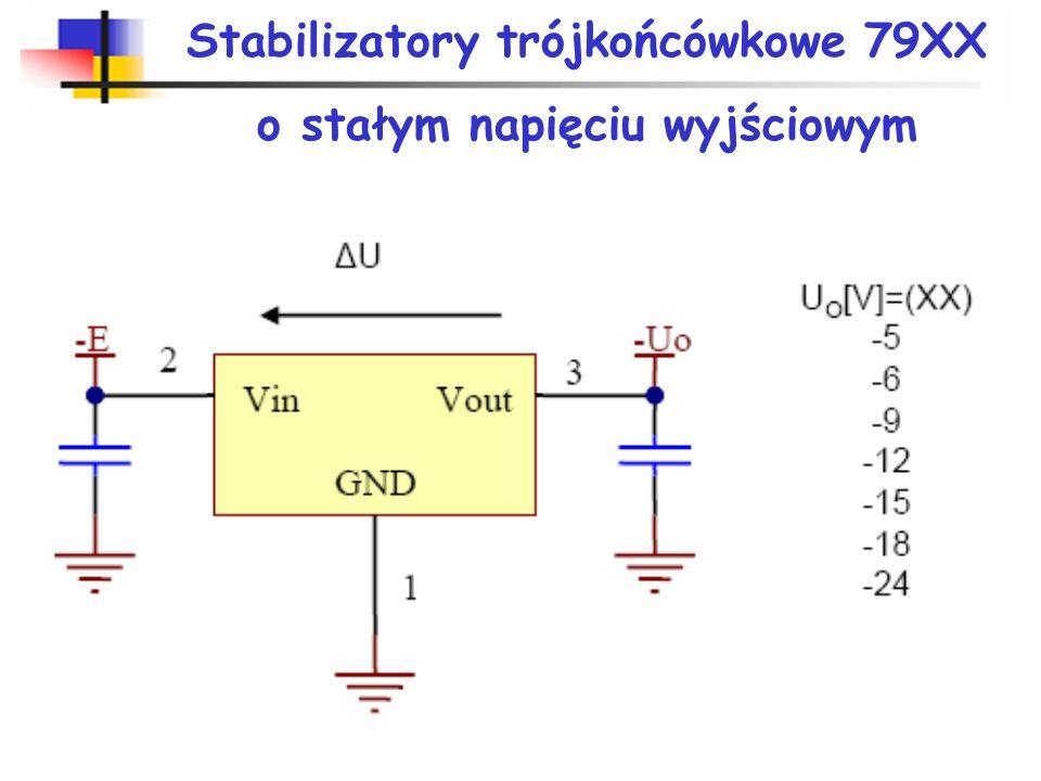 Stabilizatory trójkońcówkowe 79XX o stałym napięciu wyjściowym