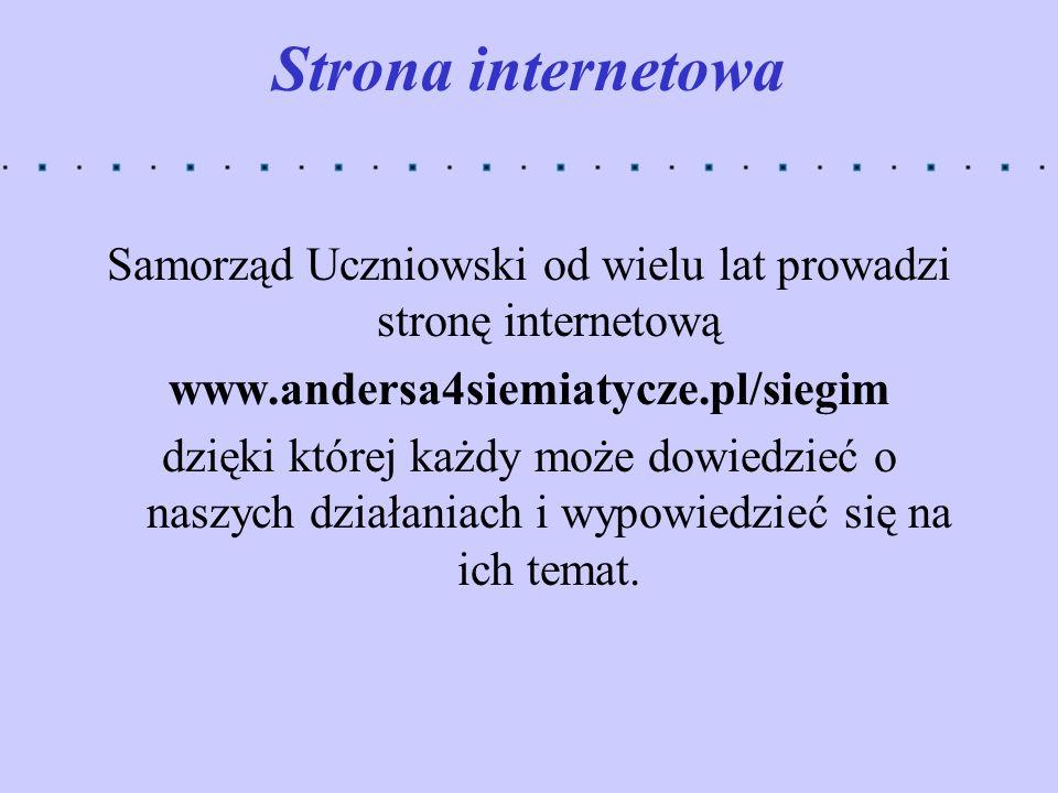 Samorząd Uczniowski od wielu lat prowadzi stronę internetową