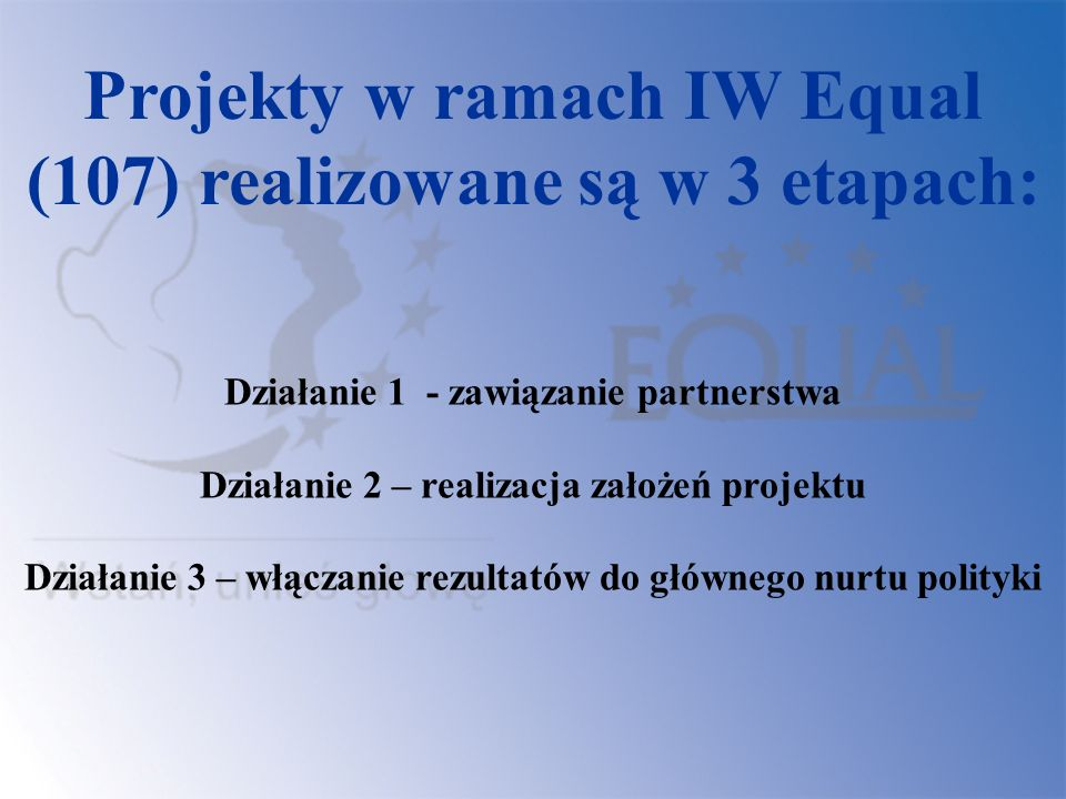 Projekty w ramach IW Equal (107) realizowane są w 3 etapach: