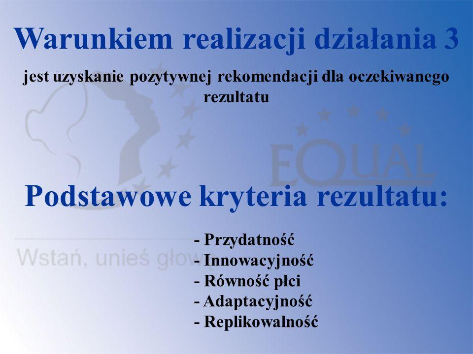 Warunkiem realizacji działania 3 Podstawowe kryteria rezultatu:
