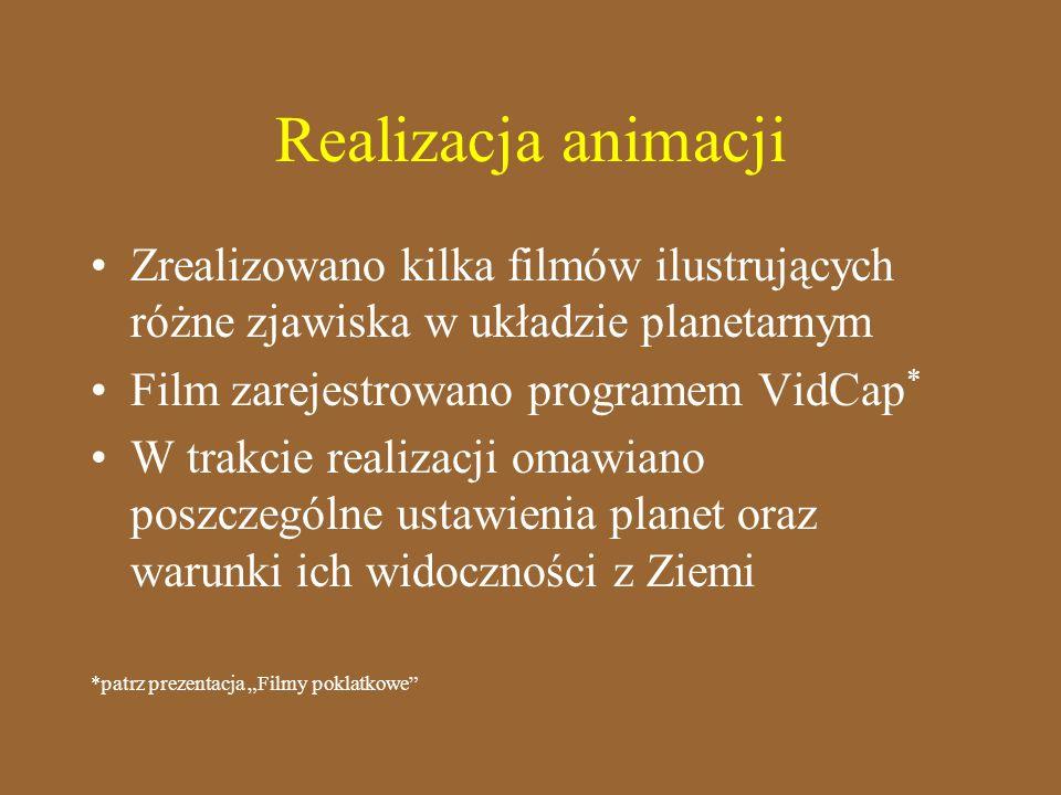 Realizacja animacjiZrealizowano kilka filmów ilustrujących różne zjawiska w układzie planetarnym. Film zarejestrowano programem VidCap*