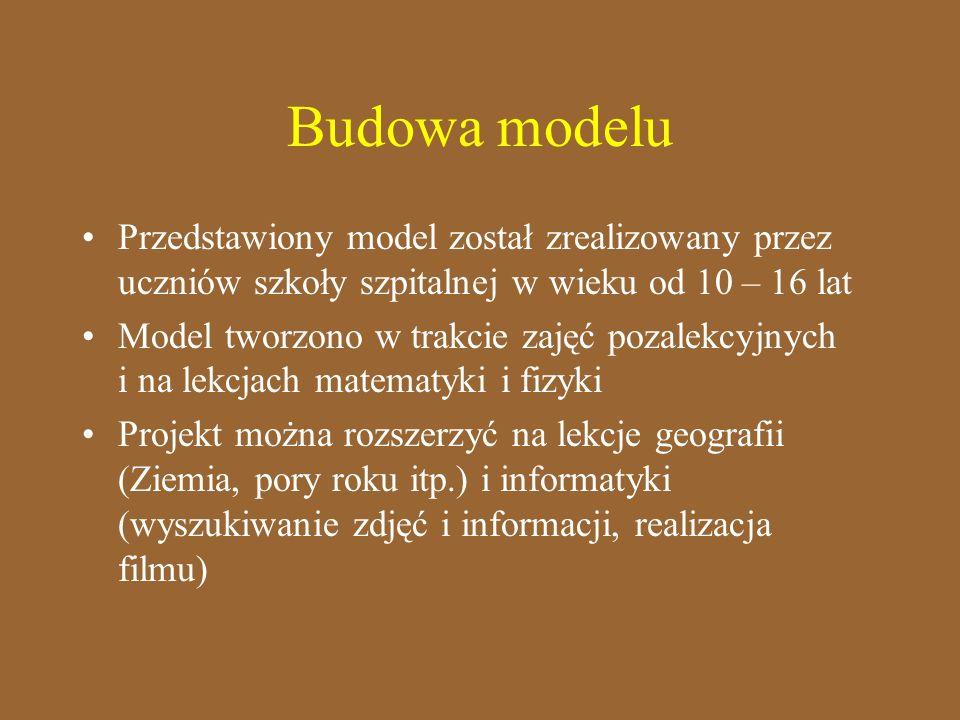 Budowa modelu Przedstawiony model został zrealizowany przez uczniów szkoły szpitalnej w wieku od 10 – 16 lat.