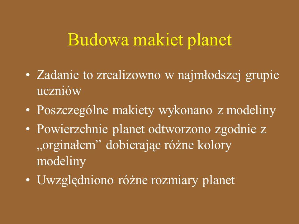 Budowa makiet planetZadanie to zrealizowno w najmłodszej grupie uczniów. Poszczególne makiety wykonano z modeliny.