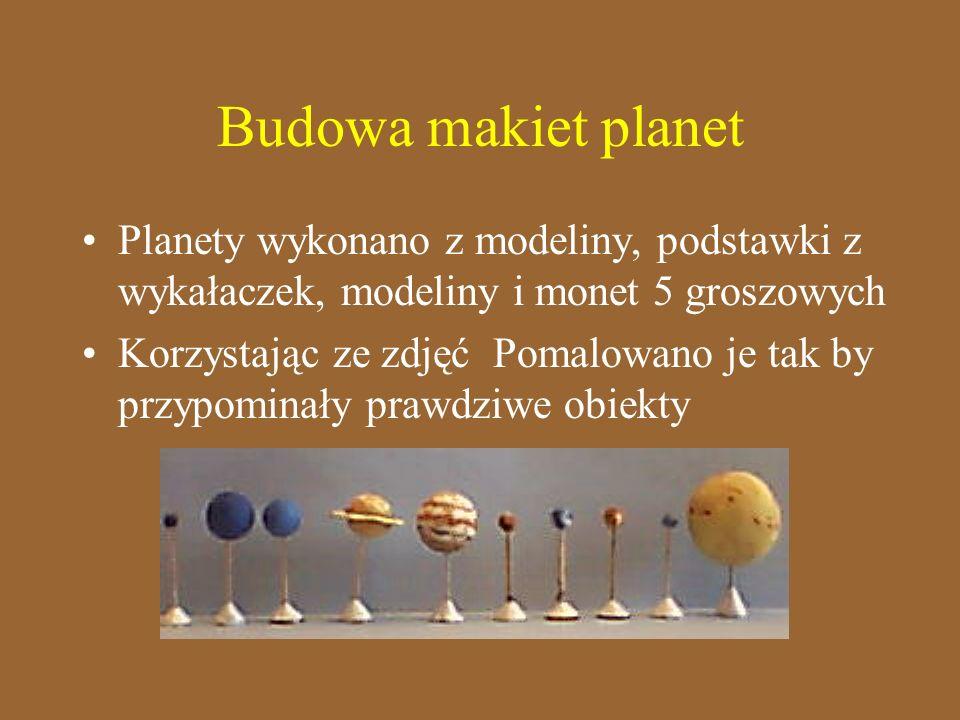 Budowa makiet planet Planety wykonano z modeliny, podstawki z wykałaczek, modeliny i monet 5 groszowych.