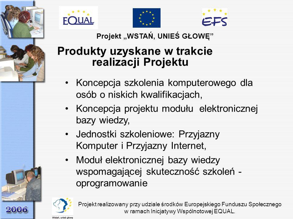 Produkty uzyskane w trakcie realizacji Projektu