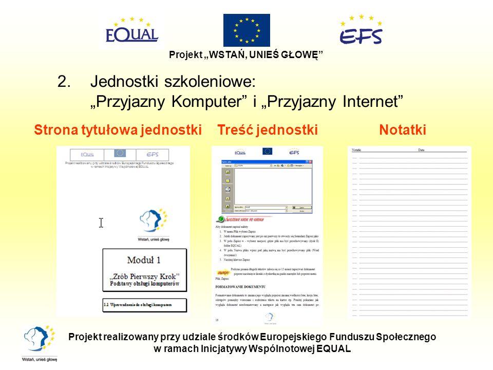 Strona tytułowa jednostki w ramach Inicjatywy Wspólnotowej EQUAL
