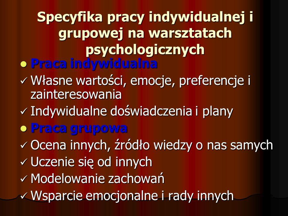 Specyfika pracy indywidualnej i grupowej na warsztatach psychologicznych