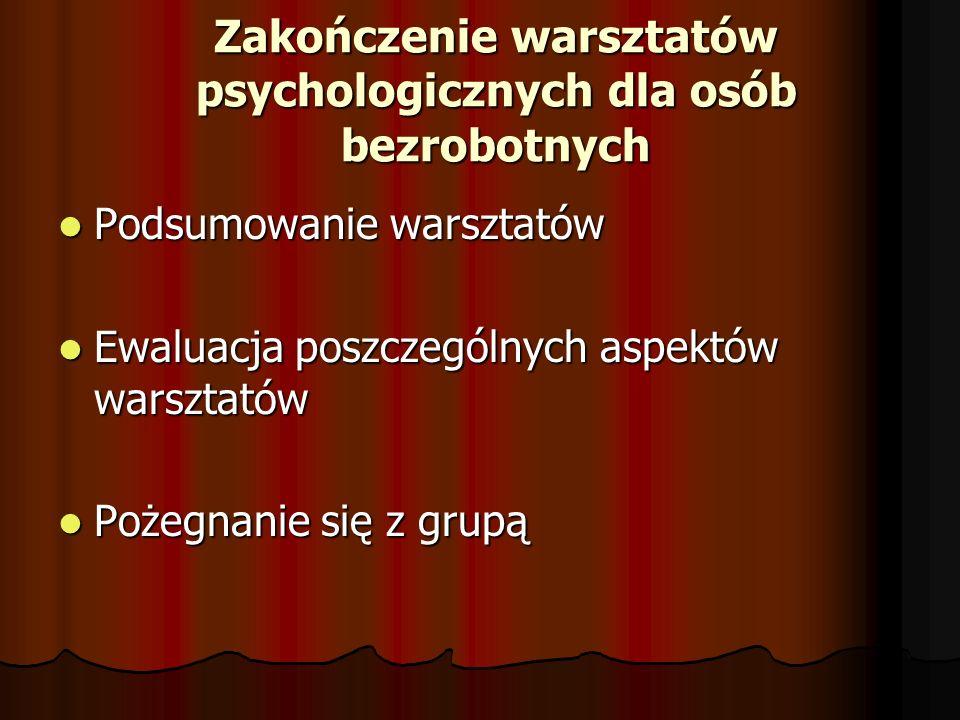 Zakończenie warsztatów psychologicznych dla osób bezrobotnych