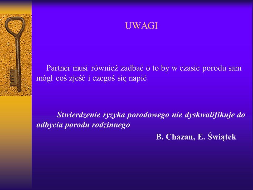 UWAGI Partner musi również zadbać o to by w czasie porodu sam mógł coś zjeść i czegoś się napić.