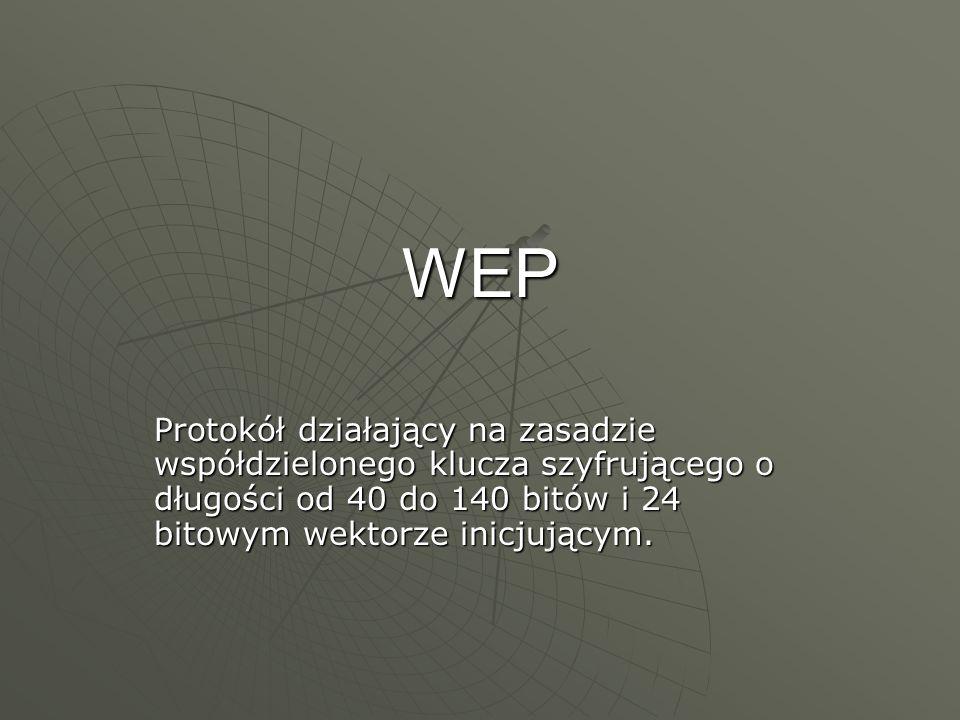 WEP Protokół działający na zasadzie współdzielonego klucza szyfrującego o długości od 40 do 140 bitów i 24 bitowym wektorze inicjującym.