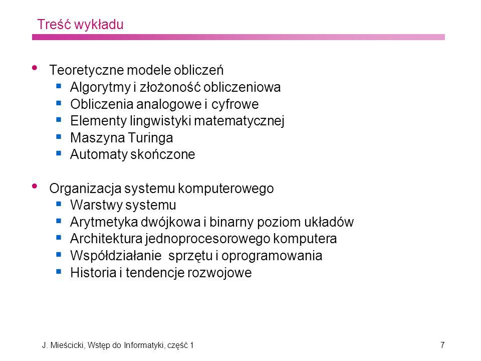 J. Mieścicki, Wstęp do Informatyki, część 1