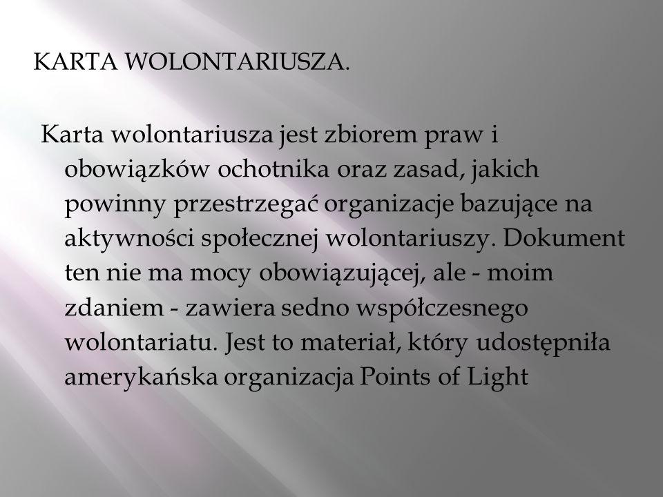 KARTA WOLONTARIUSZA.