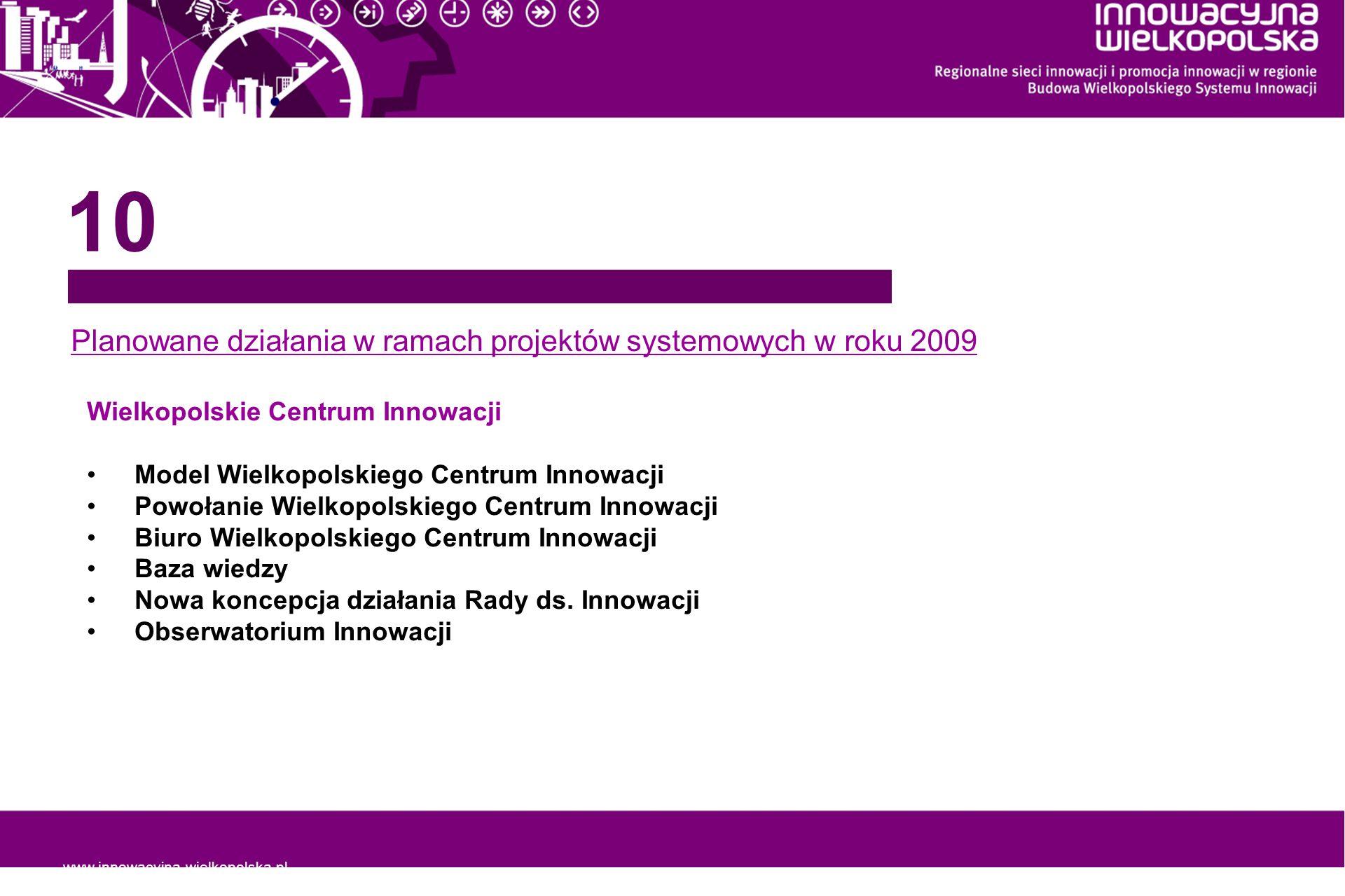 Planowane działania w ramach projektów systemowych w roku 2009