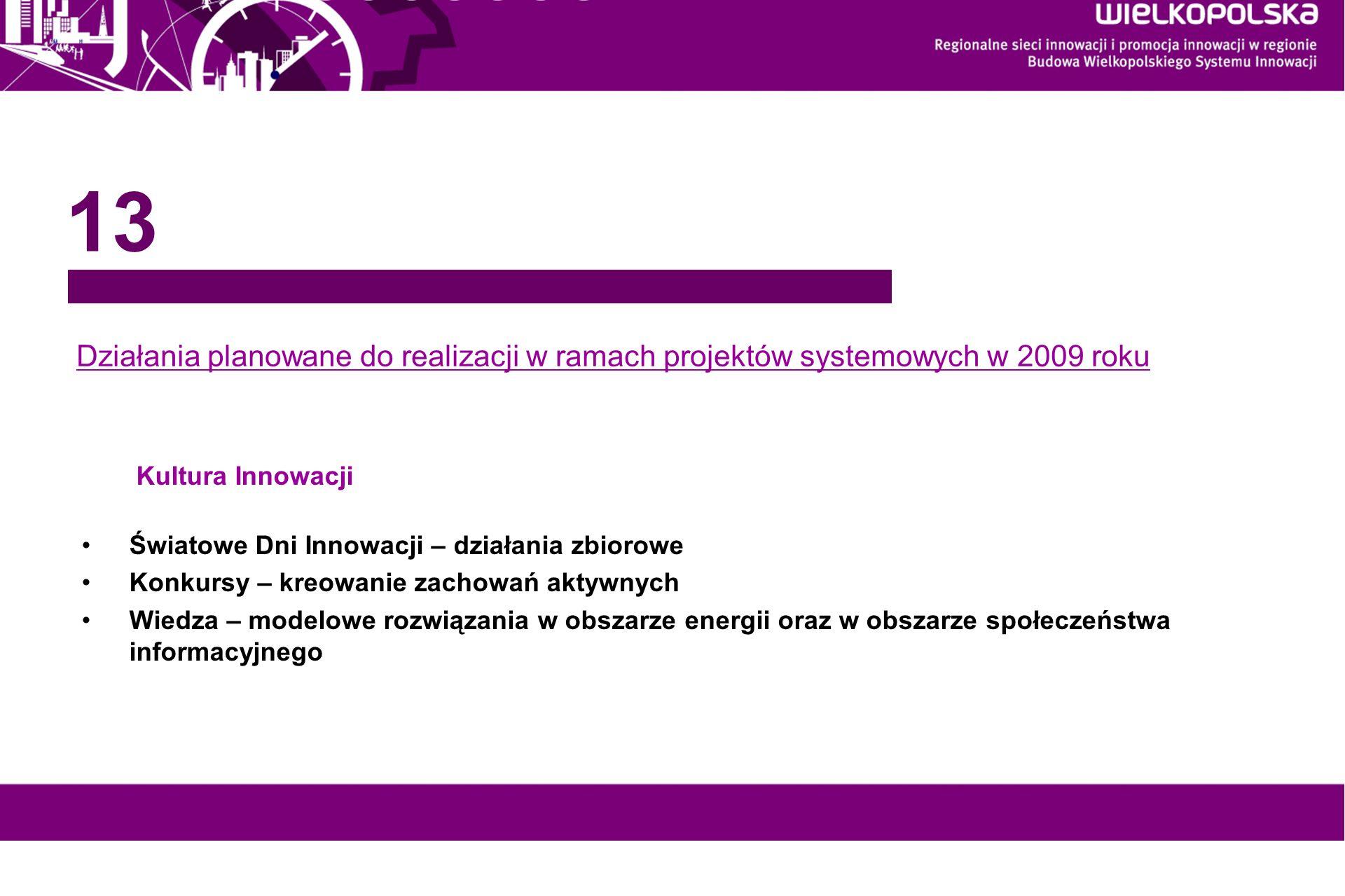 13Działania planowane do realizacji w ramach projektów systemowych w 2009 roku. Kultura Innowacji. Światowe Dni Innowacji – działania zbiorowe.
