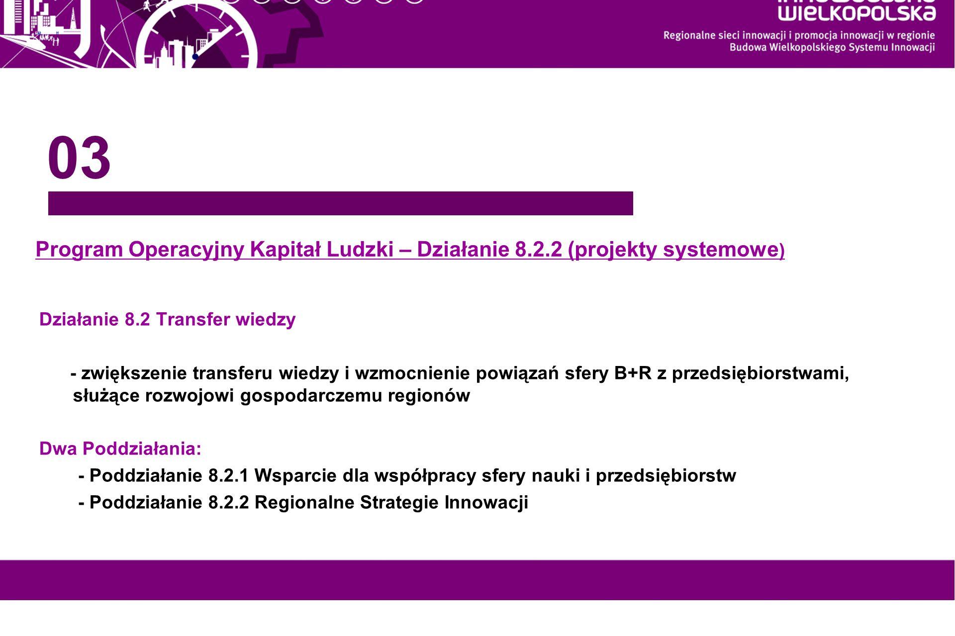 03 Program Operacyjny Kapitał Ludzki – Działanie 8.2.2 (projekty systemowe) Działanie 8.2 Transfer wiedzy.