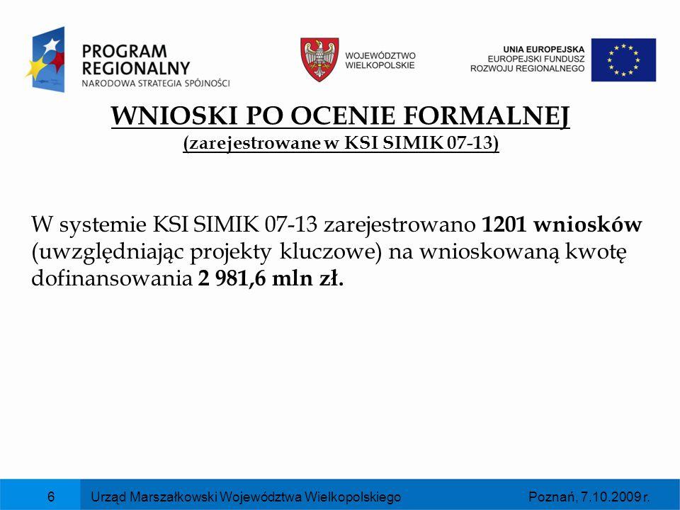WNIOSKI PO OCENIE FORMALNEJ (zarejestrowane w KSI SIMIK 07-13)
