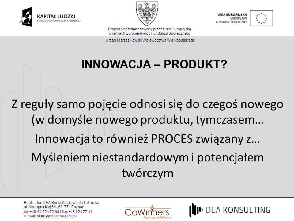 Innowacja to również PROCES związany z…