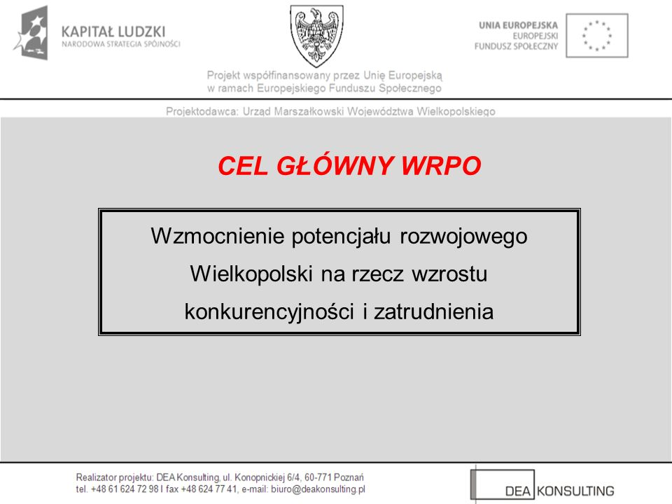 CEL GŁÓWNY WRPO Wzmocnienie potencjału rozwojowego Wielkopolski na rzecz wzrostu konkurencyjności i zatrudnienia.
