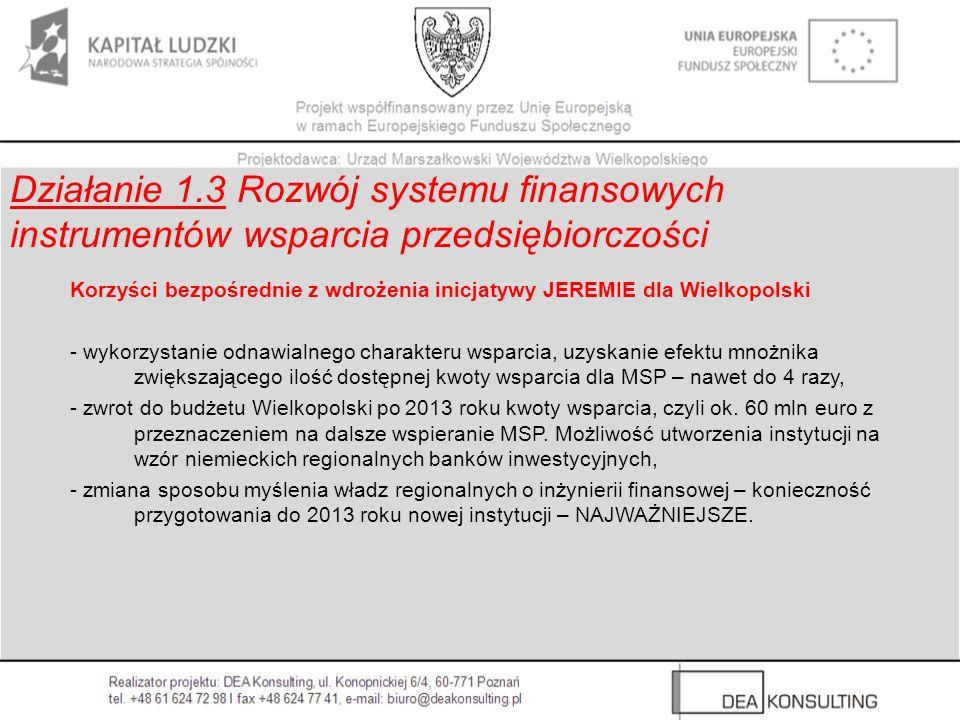 Działanie 1.3 Rozwój systemu finansowych instrumentów wsparcia przedsiębiorczości