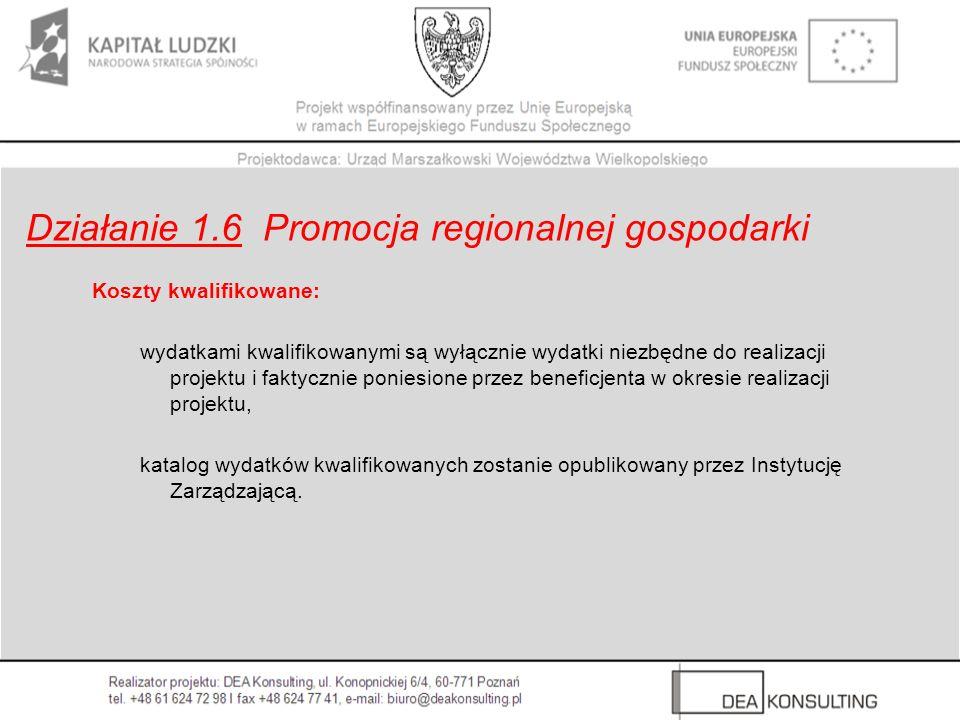 Działanie 1.6 Promocja regionalnej gospodarki