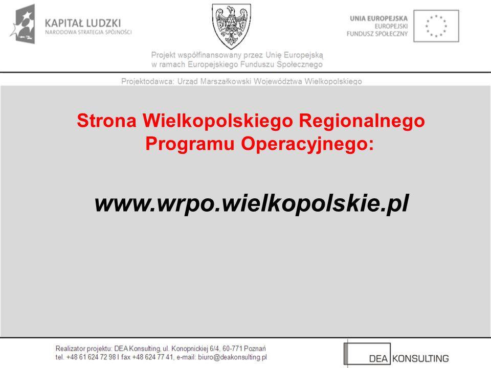 Strona Wielkopolskiego Regionalnego Programu Operacyjnego: