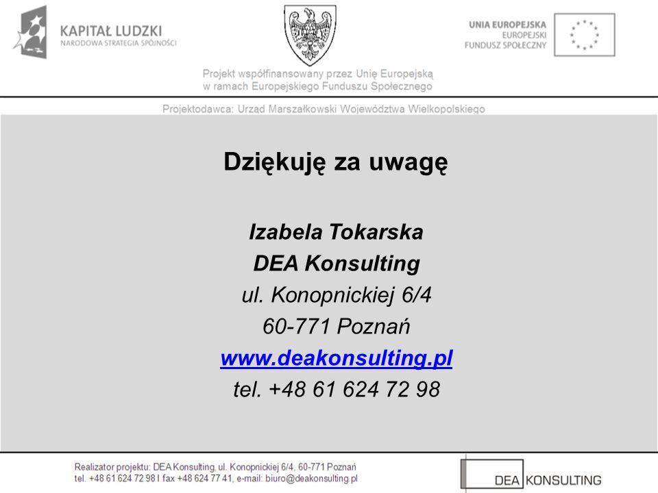 Dziękuję za uwagę Izabela Tokarska DEA Konsulting ul. Konopnickiej 6/4