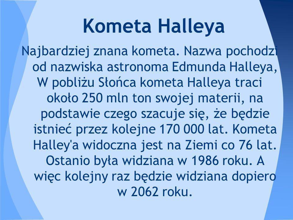 Kometa Halleya Najbardziej znana kometa. Nazwa pochodzi od nazwiska astronoma Edmunda Halleya,