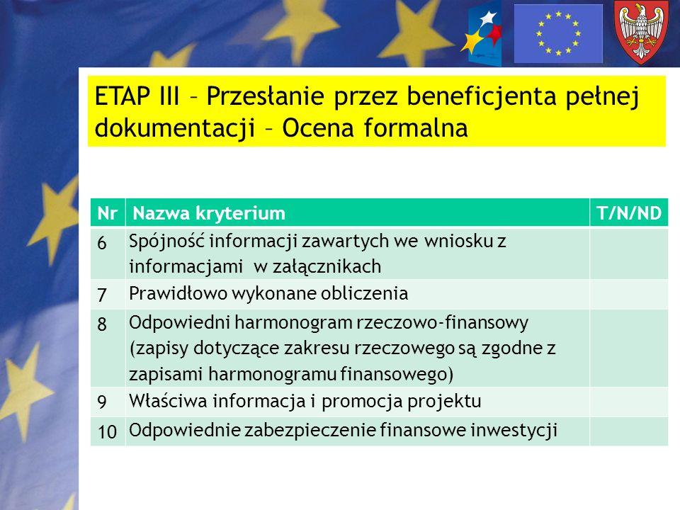 ETAP III – Przesłanie przez beneficjenta pełnej dokumentacji – Ocena formalna