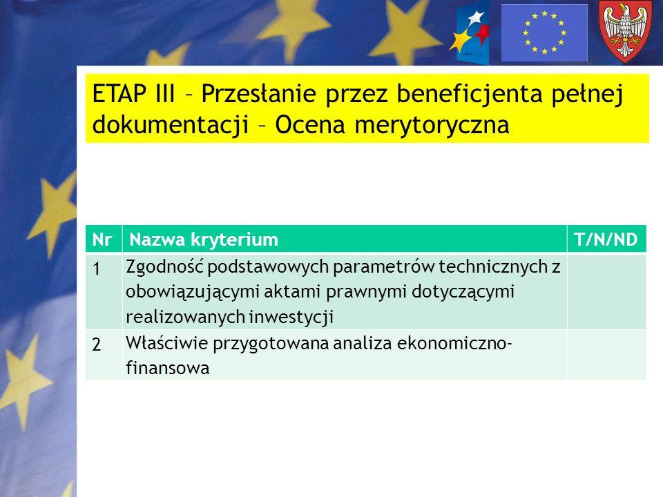 ETAP III – Przesłanie przez beneficjenta pełnej dokumentacji – Ocena merytoryczna