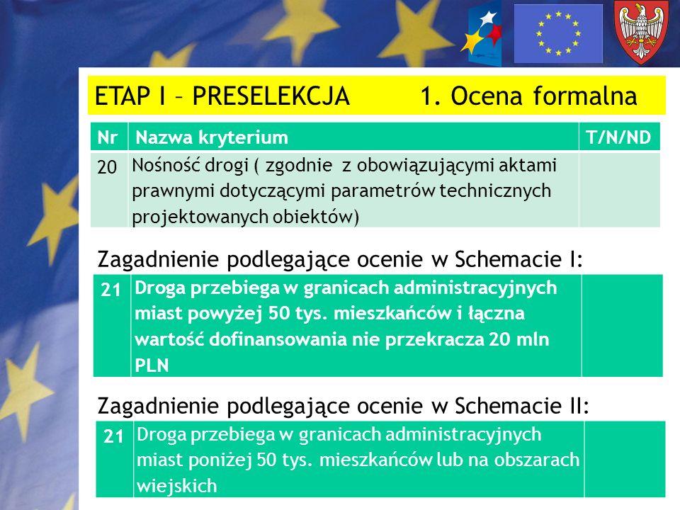 ETAP I – PRESELEKCJA 1. Ocena formalna