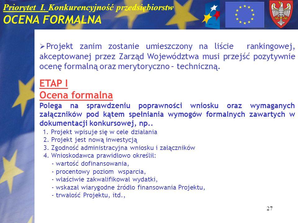 Priorytet I. Konkurencyjność przedsiębiorstw OCENA FORMALNA