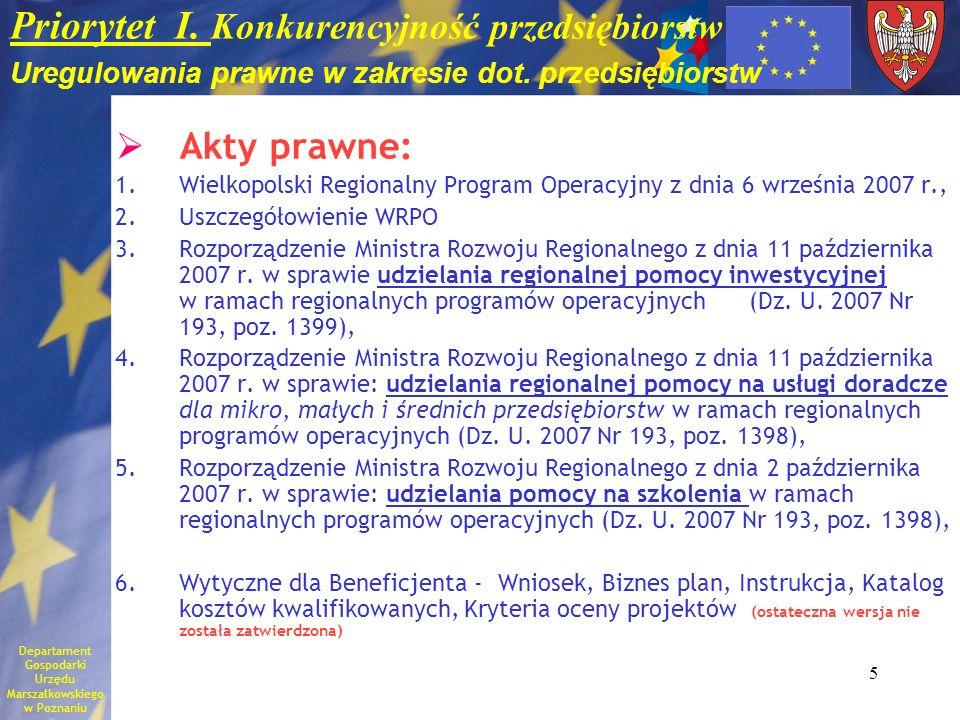 Priorytet I. Konkurencyjność przedsiębiorstw Uregulowania prawne w zakresie dot. przedsiębiorstw