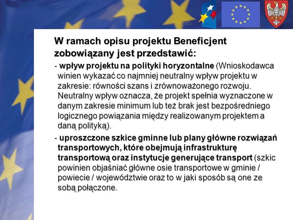 W ramach opisu projektu Beneficjent zobowiązany jest przedstawić: