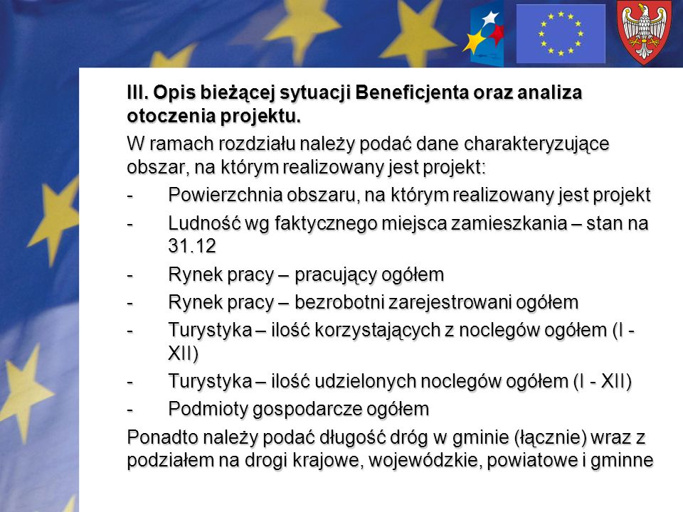 III. Opis bieżącej sytuacji Beneficjenta oraz analiza otoczenia projektu.